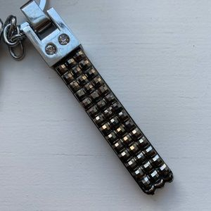 Claire's Accessories - Chic bedazzled gray stud strap keychain